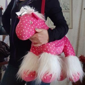 Pink pokadot Plush Horse Pillow Bag Kids